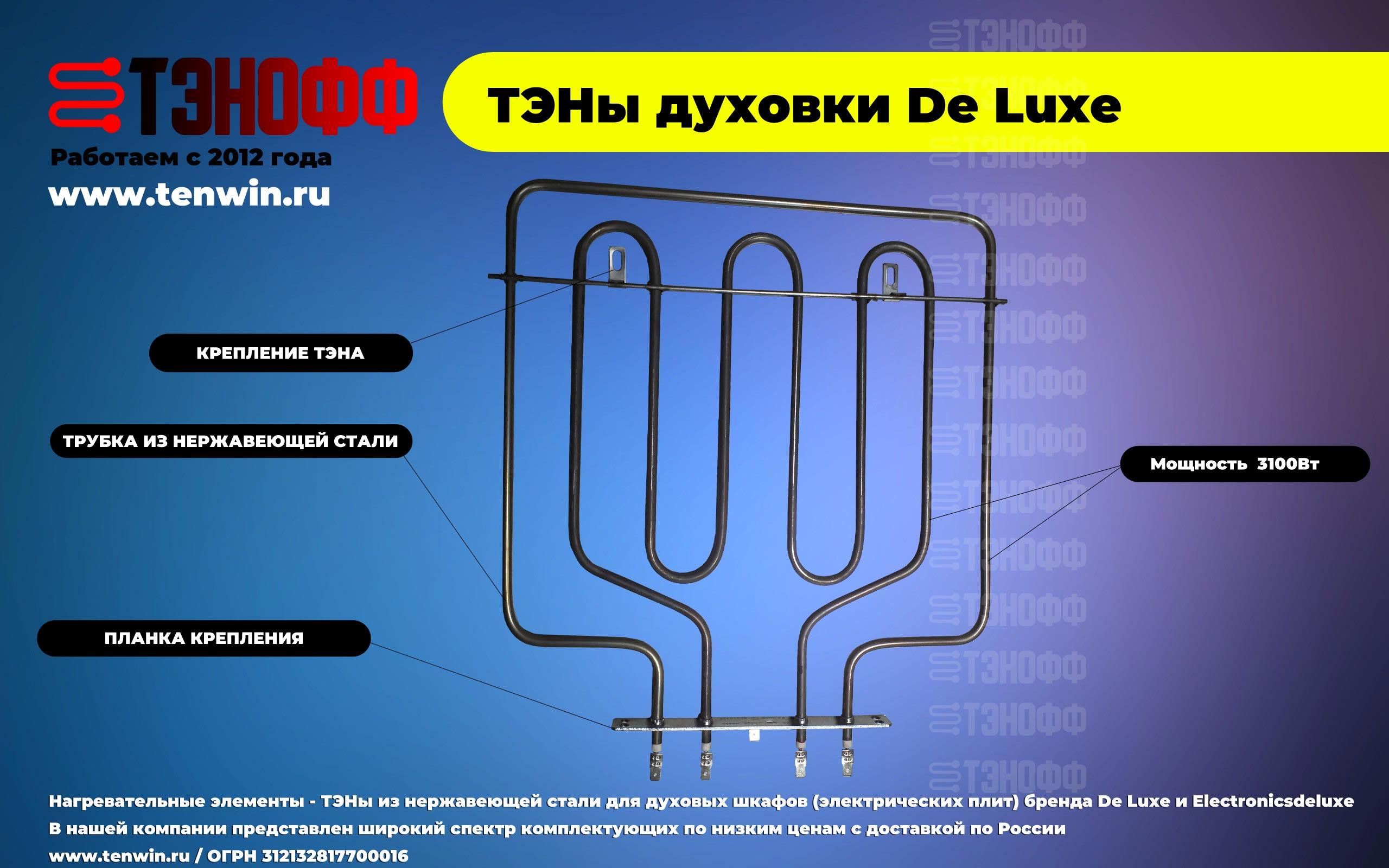 ТЭНы электрических плит Дэ Люус и Электрониксделюкс от производителя